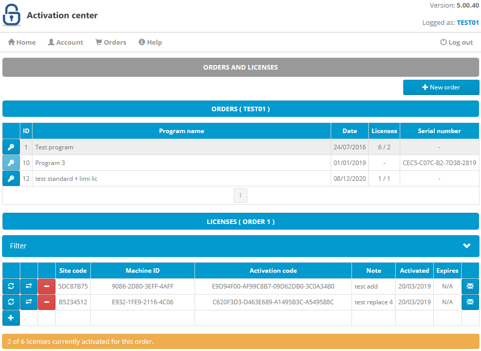 Activation center: Client interface: Orders page