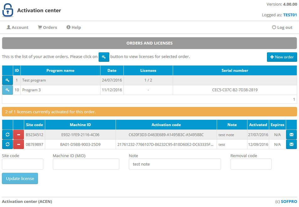 client interface orders page