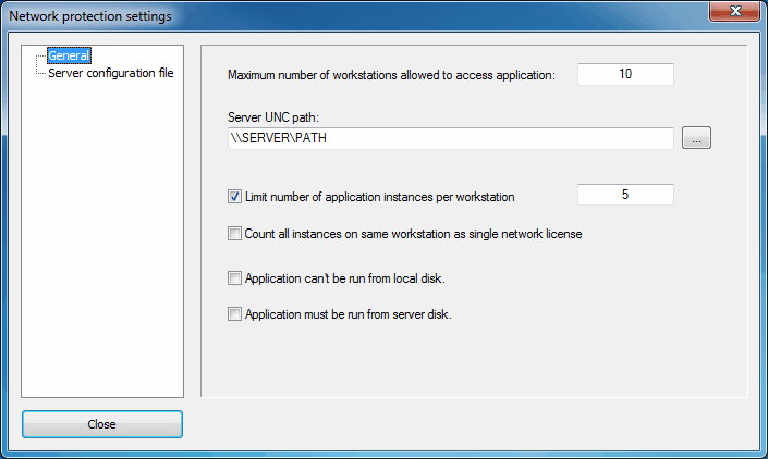 general network protection settings
