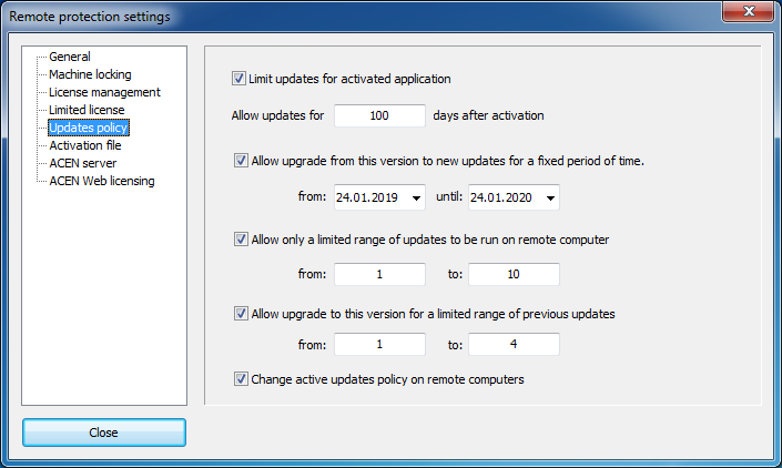 Updates policy settings